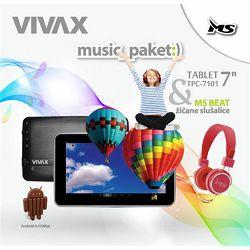 VIVAX tablet TPC-7101 black + MS slušalice CRVENE