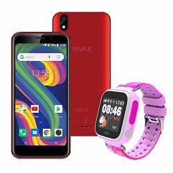 VIVAX Fun S1 red +  CORDYS SMART KIDS WATCH Zoom pink