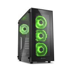 Sharkoon TG5 Midi Tower ATX kućište, bez napajanja, prozirna prednja/bočna stranica, zeleni LED, crno