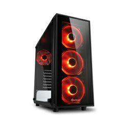 Sharkoon TG4 Midi Tower ATX kućište, bez napajanja, prozirna prednja/bočna stranica, crveni LED, crno