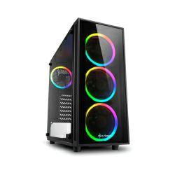 Sharkoon TG4 RGB Midi Tower ATX kućište, bez napajanja, prozirna prednja/bočna stranica, crno