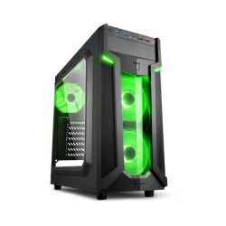 Sharkoon VG6-W Midi Tower ATX kućište, bez napajanja, prozirna prednja/bočna stranica, zeleni LED, crno