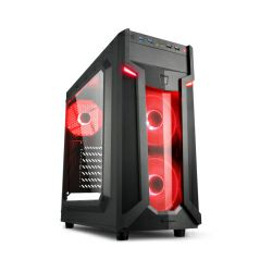 Sharkoon VG6-W Midi Tower ATX kućište, bez napajanja, prozirna prednja/bočna stranica, crveni LED, crno