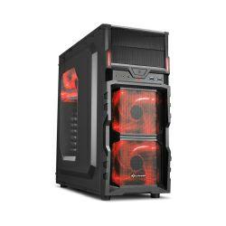 Sharkoon VG5-W Midi Tower ATX kućište, prozirna bočna stranica, bez napajanja, crveni LED, crno