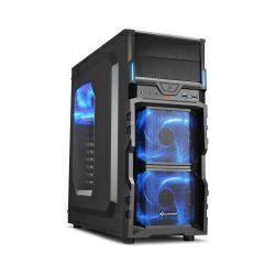 Sharkoon VG5-W Midi Tower ATX kućište, prozirna bočna stranica, bez napajanja, plavi LED, crno