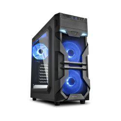 Sharkoon VG7-W Midi Tower ATX kućište, bez napajanja, prozirna prednja/bočna stranica, plavi LED, crno
