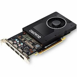 NVIDIA Video Card Quadro P2000 GDDR5 5GB/160bit, 1024 CUDA® Cores, PCI-E 3.0 x16, 4xDP, Cooler, Single Slot (DP-DVI-D Cable incuded)