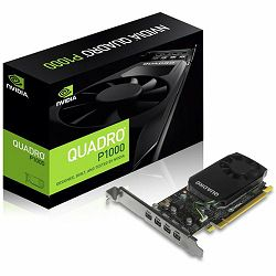 NVIDIA Video Card Quadro P1000 GDDR5 4GB/128bit, 640 CUDA®  Cores, PCI-E 3.0 x16, 4xminiDP, Cooler, Single Slot, Low Profile (4xmDP-DP Cables, Full Size and Low Profile Bracket incuded)