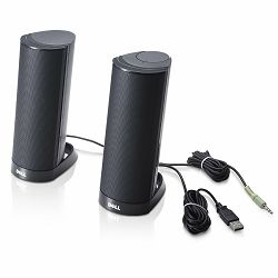 Dell Speakers Stereo AX210CR, Connection(power): USB,  Audio line-in 3.5mm, Black