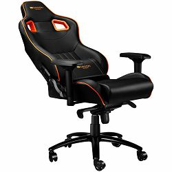 Gaming chair, PU leather, Cold molded foam, Metal Frame , Frog mechanism, 90-165 dgree, 4D armrest, Tilt Lock, Class 4 gas lift, metal 5 Stars Base, 60mm PU caster,black+Orange.