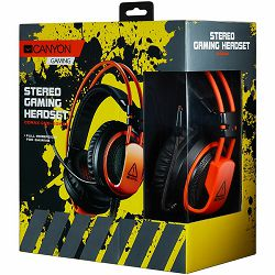CANYON Gaming headset 3.5mm jack plus USB connector for vibration function, light control button, adjustable microphone and volume control, cable 2M, Black