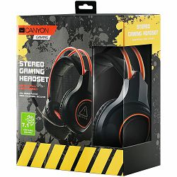 Canyon Gaming headset with 7.1 USB connector, adjustable volume control, orange LED backlight, cable length 2m, Black, 182*90*231mm, 0.336kg
