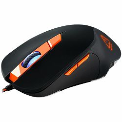Wired Gaming Mouse with 6 programmable buttons, Pixart optical sensor, 4 levels of DPI and up to 3200, 5 million times key life, 1.65m Braided USB cable,rubber coating surface and colorful RGB lights,
