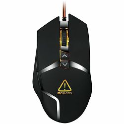 CANYON Wired gaming mouse programmable, Sunplus 189E2 IC sensor, DPI up to 4800 adjustable by software, Black rubber coating with chrome design