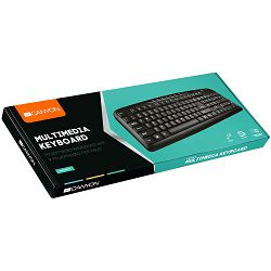 CANYON Wired Keyboard, slim, 116 keys with Multimedia functions, USB2.0, Black, cable length 1.3m, 445*160*24mm, 0.46kg, Adriatic
