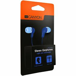 CANYON Stereo Earphones with inline microphone, Blue