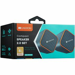 Canyon wired stereo Speaker, 1.2m cable with USB2.0 & 3.5mm audio connector, dark grey(orange stripe), 65*65*75mm, 0.252kg