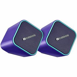 Canyon wired stereo Speaker, 1.2m cable with USB2.0 & 3.5mm audio connector, purple(blue stripe), 65*65*75mm, 0.252kg