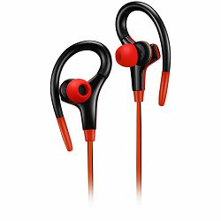 CANYON Stereo sport earphones with microphone, cable length 1.2m, Red, 32*58*25mm, 0.017kg