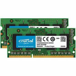 CRUCIAL 8GB Kit (4GBx2) DDR3L 1600 MT/s (PC3-12800) CL11 SODIMM 204pin 1.35V/1.5V for Mac Single Ranked