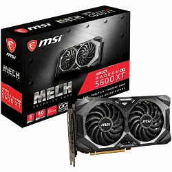 MSI Video Card AMD Radeon RX 5600 XT MECH OC GDDR6 6GB/192bit, 1420MHz/12000MHz, PCI-E 4.0, 3xDP, HDMI, TORX 2X Cooler(Double Slot), Backplate, Retail