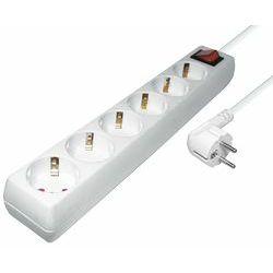 Transmedia 6-way power strip, White, 1,4m