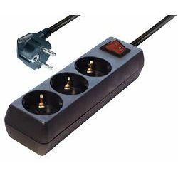Transmedia 3-way Schuko power strip black