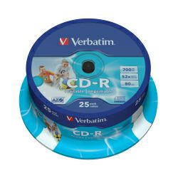 CD-R Verbatim 700MB 52× DataLife PRINTABLE 25 pack spindle