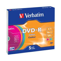 DVD-R Verbatim 4.7GB 16× Pastell Colours 5 pack Slimcase
