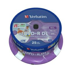 DVD+R DL Verbatim 8.5GB 8× Inkjet PRINTABLE 25 pack spindle (Double Layer)
