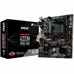 MSI Main Board Desktop A320 (SAM4, 2xDDR4, PCI-Ex16, 2xPCI-Ex1, USB3.1, USB2.0, SATA III, VGA, DVI-D, GLAN) mATX Retail