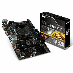 MSI Main Board Desktop A320 (SAM4, 2xDDR4, PCI-Ex16, 2xPCI-Ex1, 6xUSB3.1, 6xUSB2.0, 4xSATA III, Raid, VGA, DVI-D, GLAN) mATX Retail