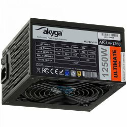 Power Supply AKYGA AK-U4-1250 Ultimate 1250W, P4+4 12x PCI-E 6+2 pin 8x SATA APFC 80+ FAN 14cm