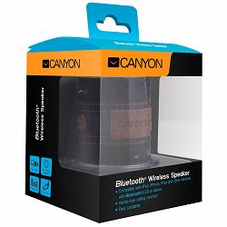 CANYON stylish Bluetooth speaker, volume control touch buttons, built in microphone, carabiner for easy hook and go, black + blue jeans.
