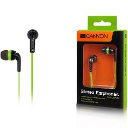 Canyon fashion earphones, flat anti-tangling cable, green