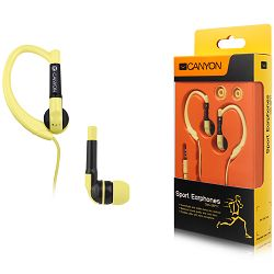 Canyon sport earphones, over-ear fixation, inline microphone, yellow