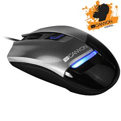 CANYON Gaming Mouse CND-SGM4 (Wired, Optical 800/1200/1600 dpi, 125Hz, 4000 fps, 15g, 4 btn, USB), Silver-Gray