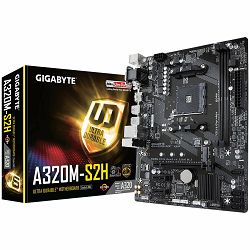 GIGABYTE Main Board Desktop AMD A320 (SAM4, 2xDDR4, Realtek ALC887, 1x10/100/1000 Mbit, 1xPCIEX16, 2xPCIEX1, 1xM.2, 4xSATA 6Gb/s, 2xPS/2, 1xD-Sub, 1xDVI-D, 1xHDMI, 4xUSB3.1Gen1, 2xUSB2.0, 1xRJ-45) mAT