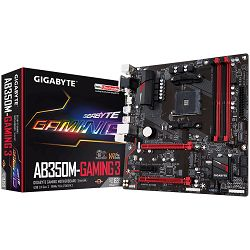 Gigabyte Main Board Desktop AB350M-Gaming 3 Socket AM4 (AMD RYZEN™ processor), 4*DDR4 3200, USB3.1/USB 2.0, DVI-D, VGA, HDMI, M.2, SATA III, RAID, GLAN, mATX