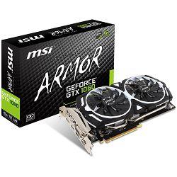 MSI Video Card GeForce GTX 1060 GDDR5 6GB/192bit, 1544MHz/8008MHz, PCI-E 3.0 x16, 2xDP, 2xHDMI, DVI-D, ARMOR 2X Cooler(Double Slot), Retail