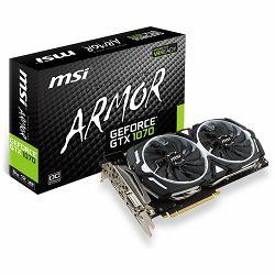 MSI Video Card GeForce GTX 1070 GDDR5 8GB/256bit, 1556MHz/8008MHz, PCI-E 3.0 x16, 3xDP, HDMI, DVI-D, ARMOR 2X Cooler(Double Slot), Retail