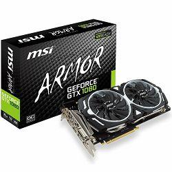 MSI Video Card GeForce GTX 1080 GDDR5X 8GB/256bit, 1657MHz/10010MHz, PCI-E 3.0 x16, 3xDP, HDMI, DVI-D, ARMOR 2X Cooler(Double Slot), Retail