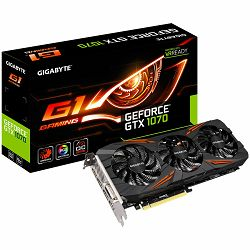 GIGABYTE Video Card GeForce GTX 1070 G1 GAMING GDDR5 8GB/256bit, Boost Mode 1784MHz/8008MHz, PCI-E 3.0 x16, HDMI, DVI-D, 3xDP, WINDFORCE 3X Cooler,RGB (Double Slot), Retail