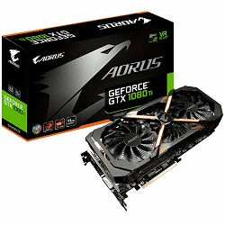 GIGABYTE Video Card GeForce GTX 1080 Ti AORUS EDITION GDDR5X 11GB/352bit, 1569MHz/10206MHz, PCI-E 3.0 x16, 2xHDMI, DVI-D, 3xDP, WINDFORCE Stack 3X Cooler RGB(Double Slot), Backplate, Retail