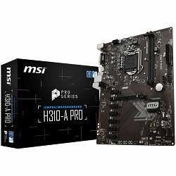MSI Main Board Desktop H310 (S1151, 2xDDR4, 1xPCI_Ex16, 6xPCI-Ex1, USB3.1, USB2.0,M.2, SATA III, DVI-D, HDMI, Audio, GLAN) ATX Retail