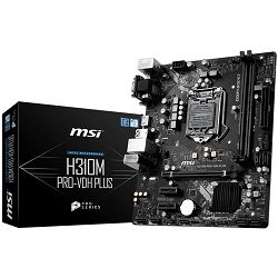 MSI Main Board Desktop H310 (S1151v2, DDR4, USB3.1, USB2.0, SATA III, HDMI, DVI-D, VGA - Requires Processor Graphics, 8-Channel(7.1), Realtek 8111H Gigabit LAN) mATX Retail