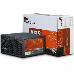 Power Supply INTER-TECH Argus APS 720W, efficiency 89.1%, dual rail (30A/30A),  120 mm silent fan with automatic control, 2x6+2pinPCIE, 4xSATA, 4xMolex, 1xFloppy, 1x4+4pinEPS12V, Active PFC, OVP/SCP/O