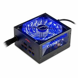 Power Supply INTER-TECH Argus RGB 650W CM, 80PLUS Gold, 140mm fan with 21 ultra bright LEDs,Switchable illumination, Acrylic glass side panel, active PFC, 2xPCI-e, OPP/OVP/SCP protection, semi-modular