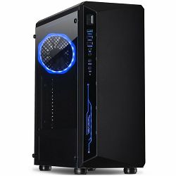 Chassis INTER-TECH C-3 SAPHIR Gaming Midi Tower, ATX, 1xUSB3.0, 2xUSB2.0, audio, PSU optional, Tempered glass side panel, Illuminated connections in the front, RGB control board, 120mm RGB fan, Dust f