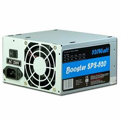 Power Supply INTER-TECH Booster SPS-520 AC 115/230V, 50/60Hz, DC 3.3/5/±12V, 520W, Retail, Passive PFC, 1x80